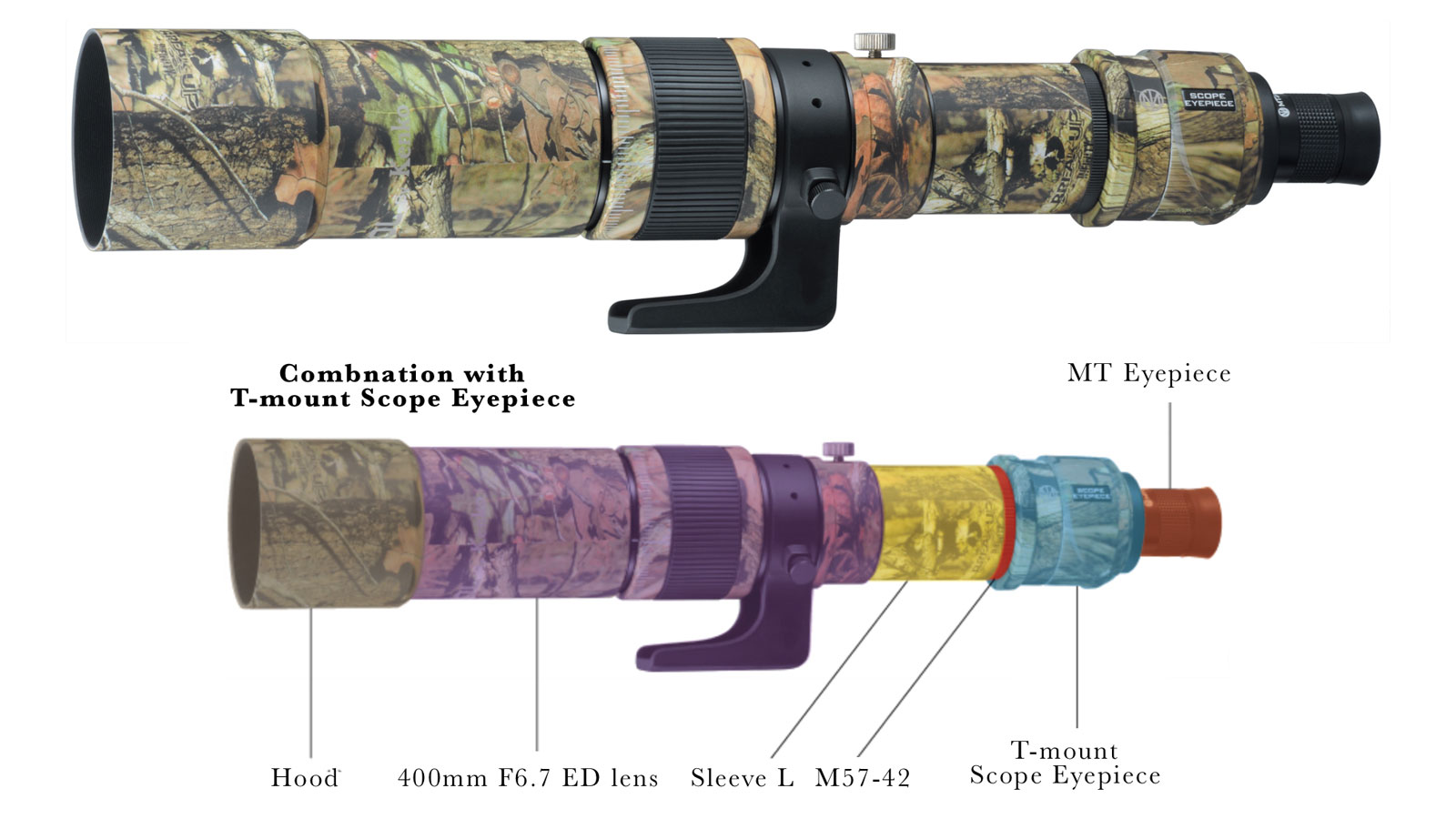 "Kenko MILTOL 400mm F6.7 ED Camouflage ""Mossy Oak"" lens as a kit for on-ground observation"