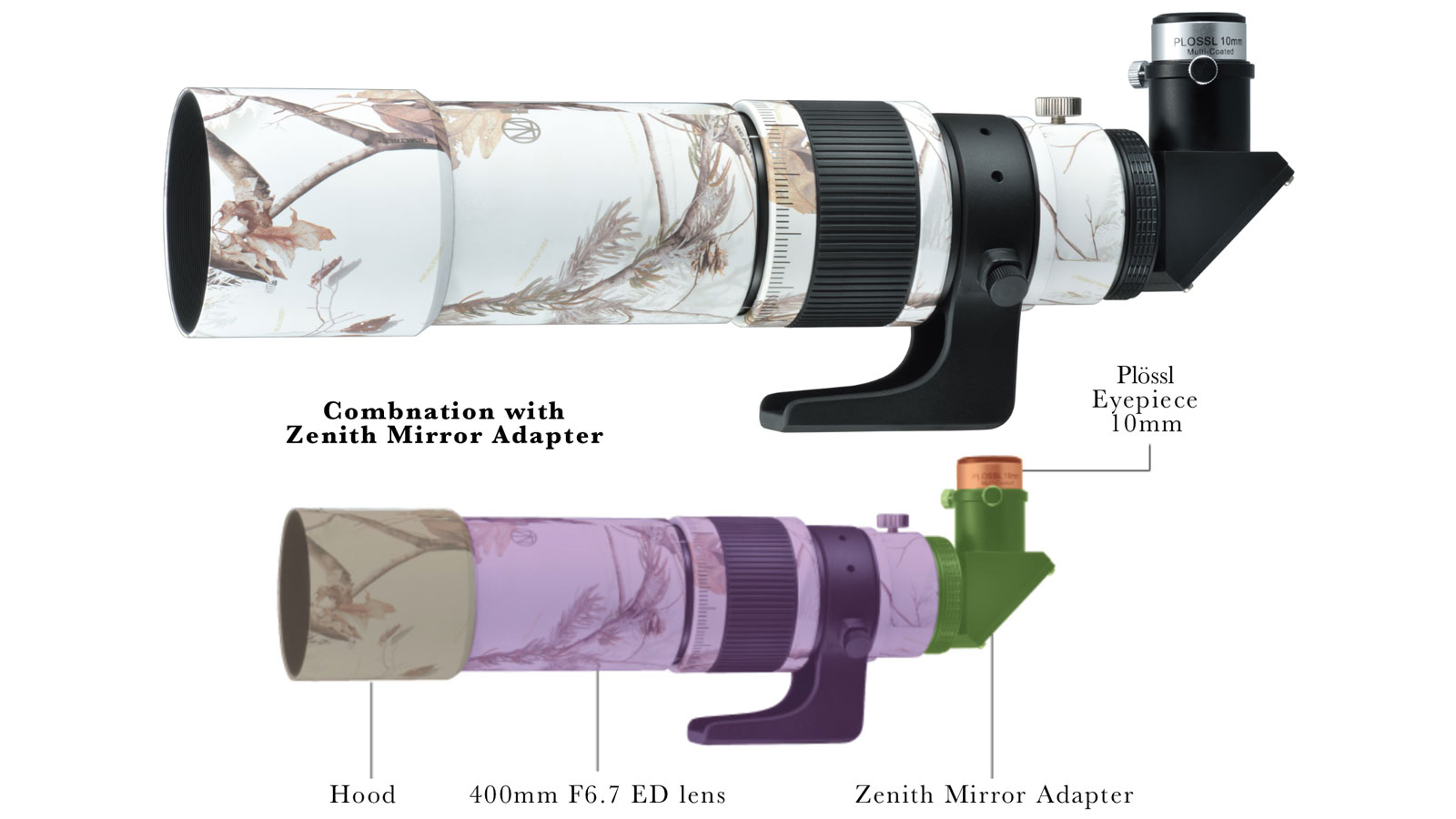 "Kenko MILTOL 400mm F6.7 ED Camouflage ""Realtree"" as kit for astronomic observation"