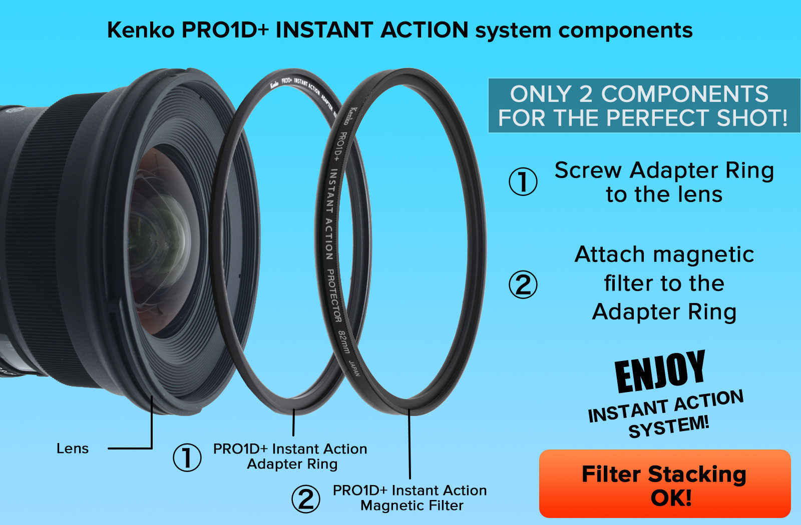 Adapter Ring is necessary to use a Kenko PRO1D+ INSTANT ACTION System. If you want to change Kenko PRO1D+ Instant Action filters that are all the same size, you don't have to remove the Adapter Ring.