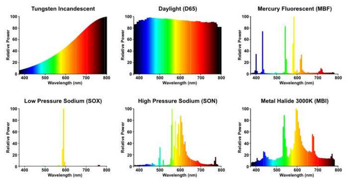Spectral power distributions of various light sources. Credit: lamptech.co.uk