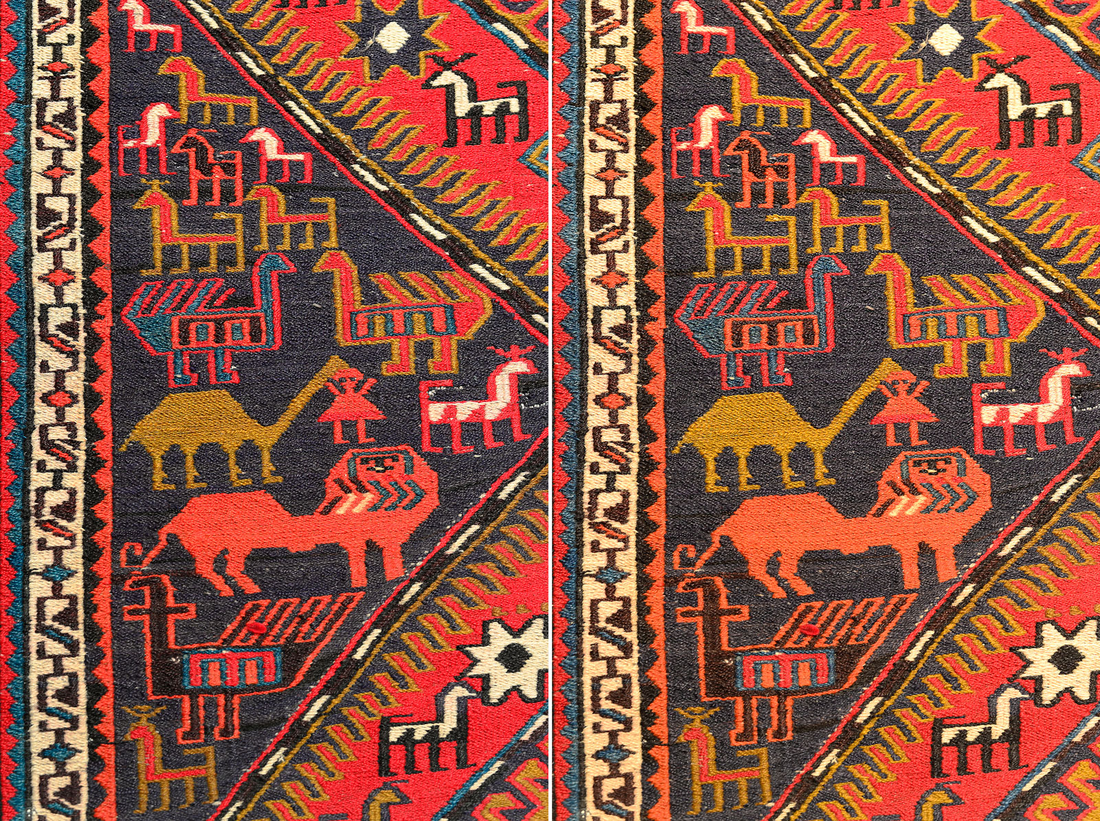 Compare how this filter recover colors in the image of this ancient red Persian carpet which under artificial light. Left image captured with filter and the right one without it.